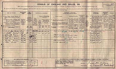 The census schedule of the Mahony family, Middlesbrough on Teesside, North Riding. The National Archives.