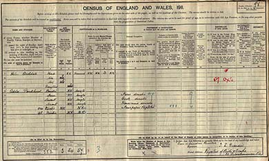 The census schedule of Adela Pankhurst and Helen Archdale schedule, Sheffield.  The National Archives.
